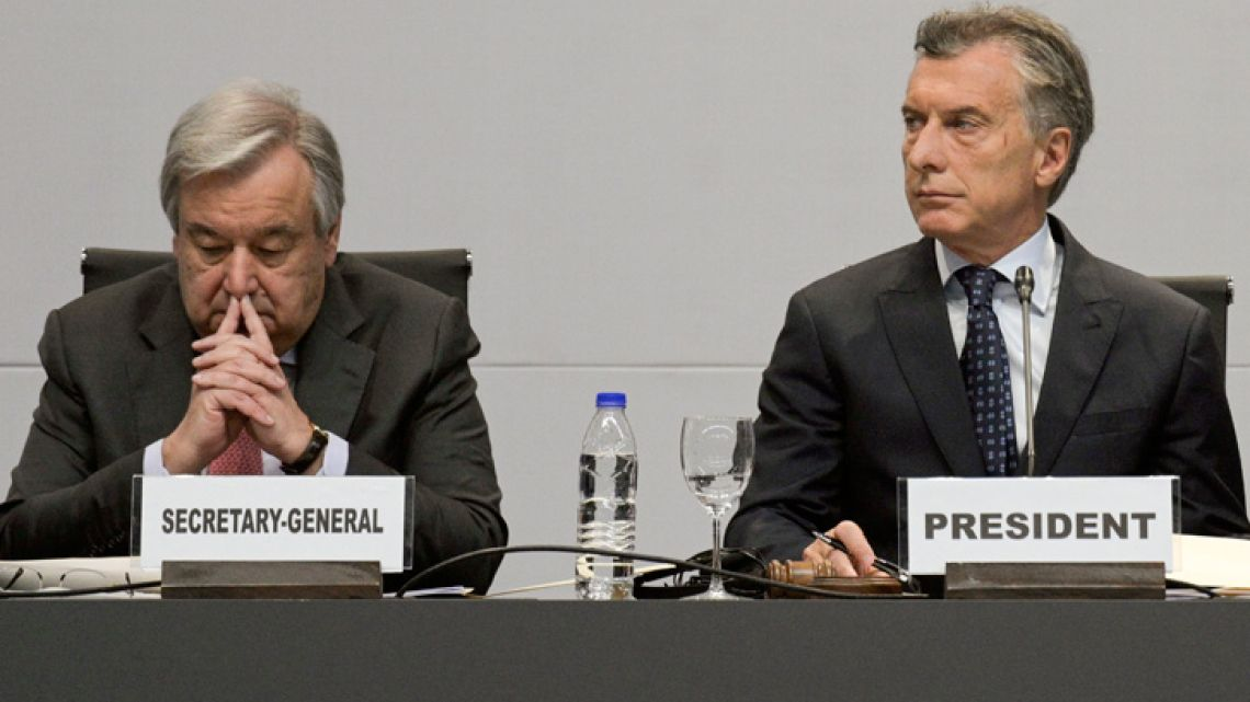 UN General Secretary Antonio Guterres (left) and President Mauricio Macri are pictured during the opening of the Second High-level United Nations Conference on South-South Cooperation in Buenos Aires, Argentina on March 20, 2019.