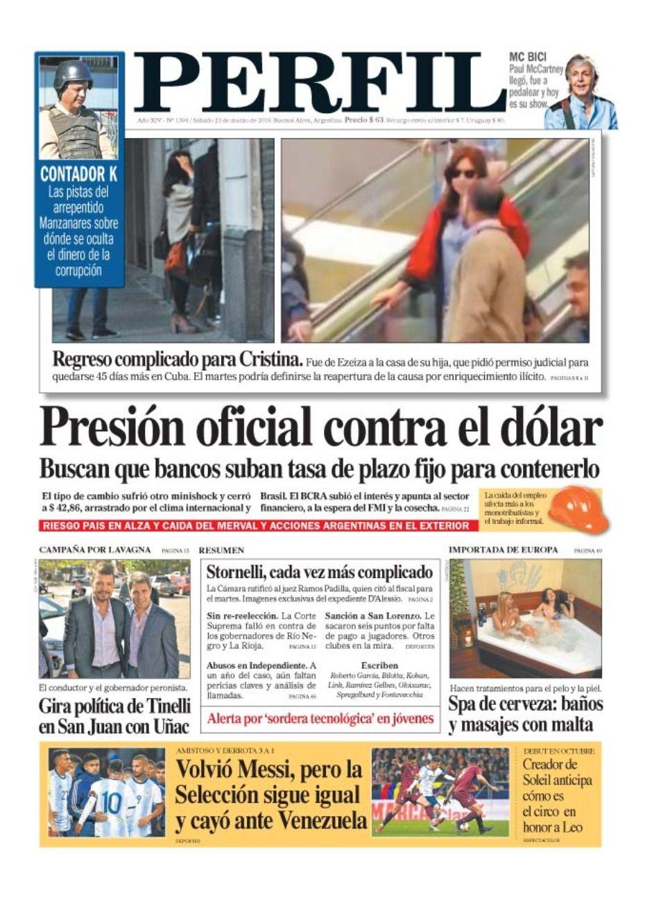 La tapa de diario PERFIL del sábado 23 de marzo de 2019.