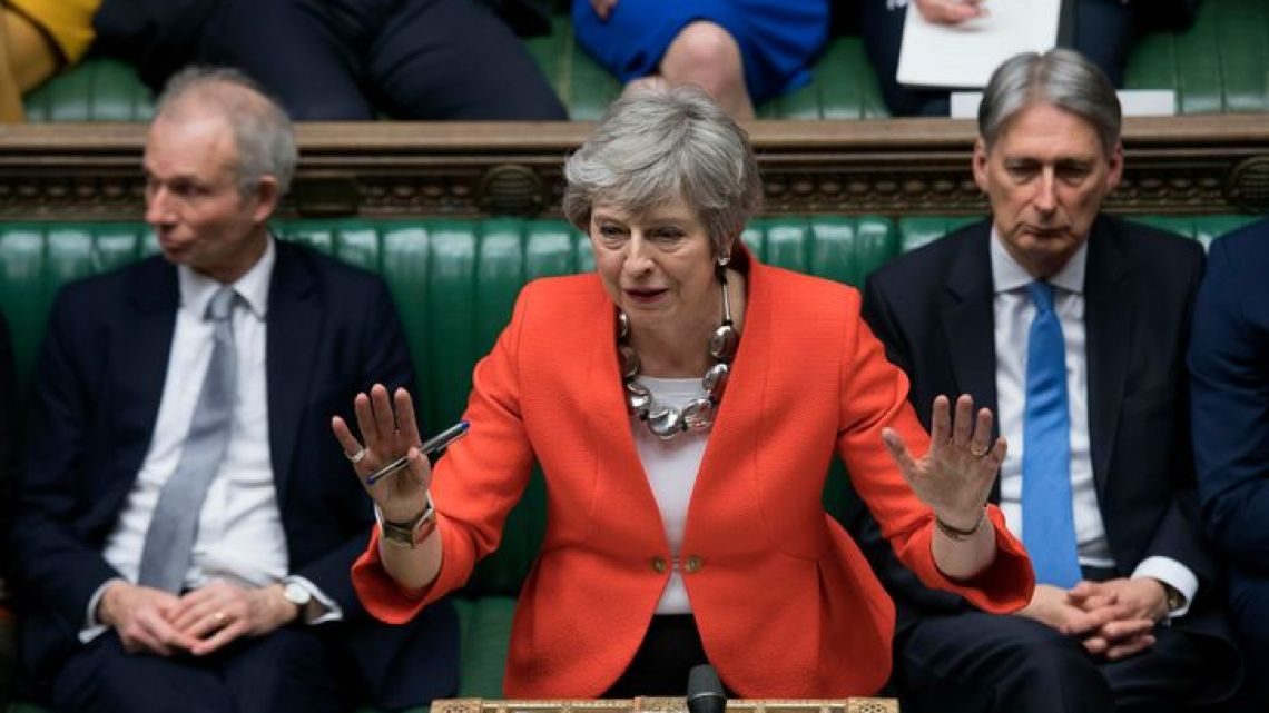 British prime minister Theresa May speaks to lawmakers in parliament on Tuesday March 12, 2019.