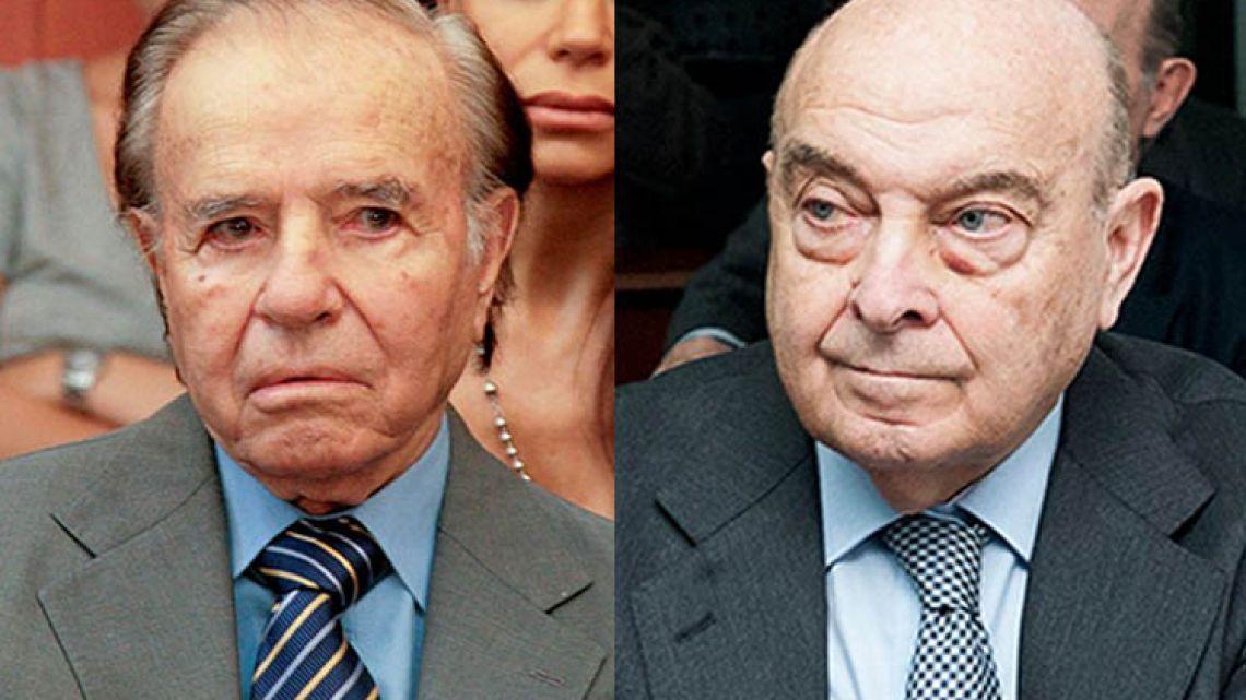 Former president Carlos Menem (left) and former economy minister Domingo Cavallo.
