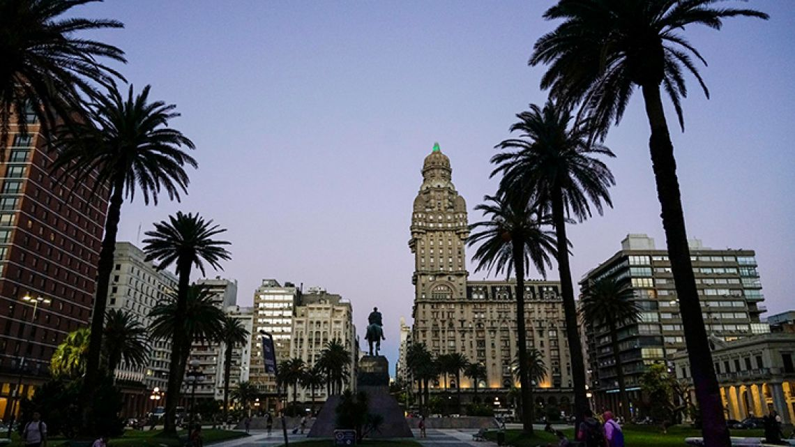 Independence Plaza in downtown Montevideo, Uruguay. Homicides in Uruguay increased by 46 percent last year, reaching an official rate of 11.8 per 100,000 people.