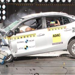 Prueba de impacto del Toyota Yaris. Foto: Latin NCAP.