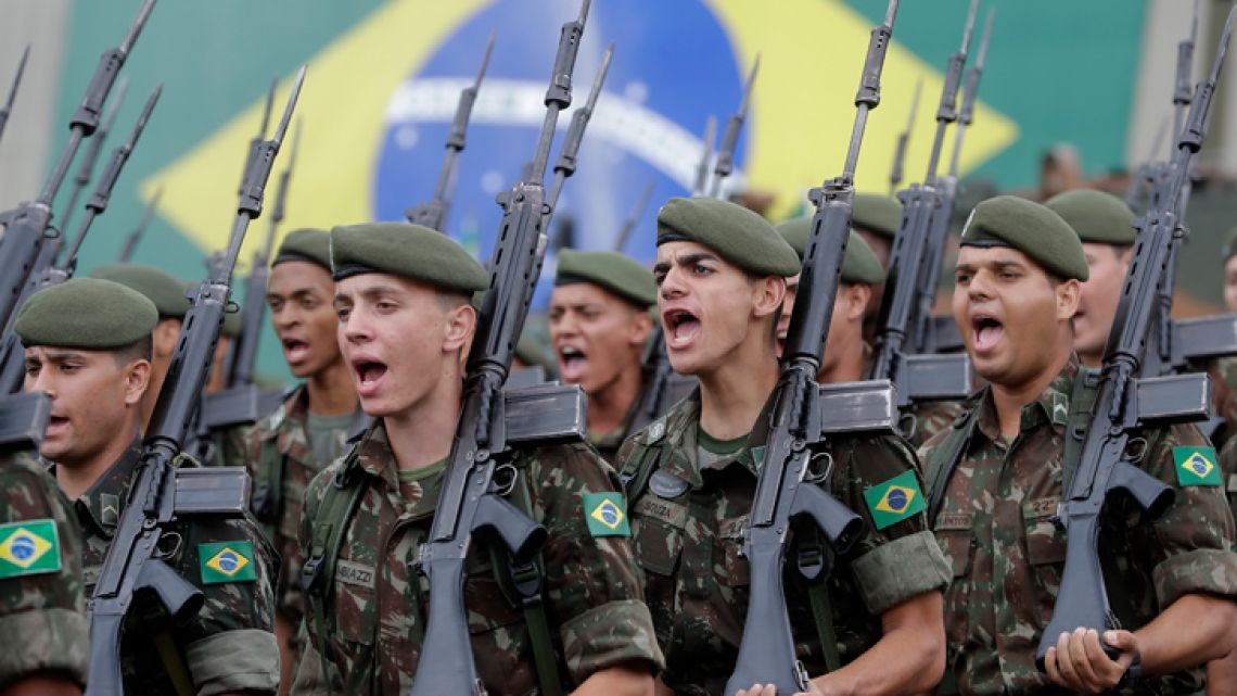 Members of the Armed Forces take part in a ceremony to commemorate the 1964 military coup that began the last Brazilian dictatorship, in São Paulo on Thursday, March 28, 2019.