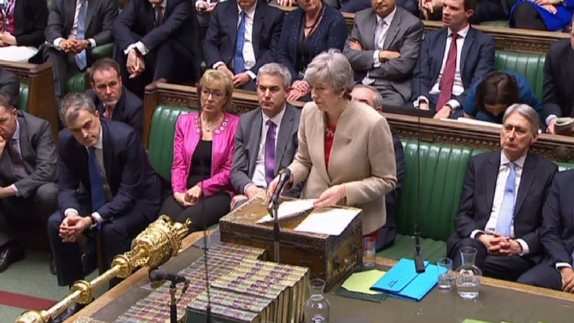 A video grab from footage broadcast by the UK Parliament's Parliamentary Recording Unit (PRU) shows Britain's Prime Minister Theresa May making a statement in the House of Commons after MPs rejected her EU Withdrawl deal for a third time. MPs voted to reject for a third time Prime Minister Theresa May's Brexit divorce deal by 58 votes.