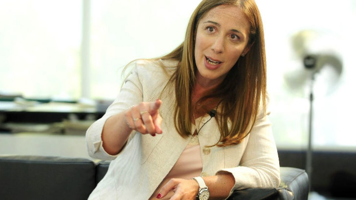 Jorge Fontevecchia interviewed María Eugenia Vidal at Editorial Perfil's offices in Barracas.