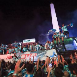 Celebrations at the Obelisk, after Racing clinched the title.