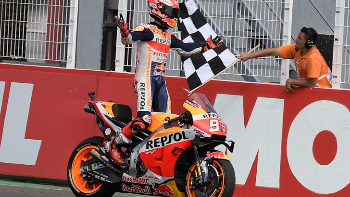 Spain's biker Marc Marquez crosses the finish line to win the MotoGP Argentina Grand Prix at the Termas de Rio Hondo circuit in Santiago del Estero, Argentina, on March 31, 2019.