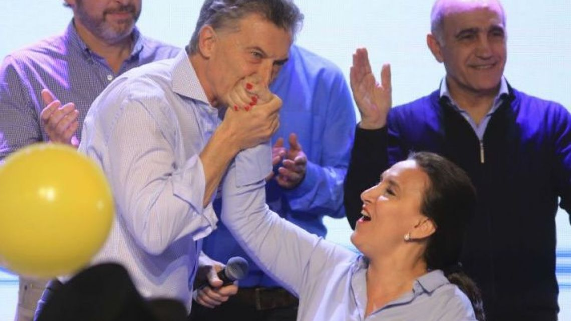 Then president-elect Mauricio Macri and his running mate Gabriela Michetti during the 2015 elections.