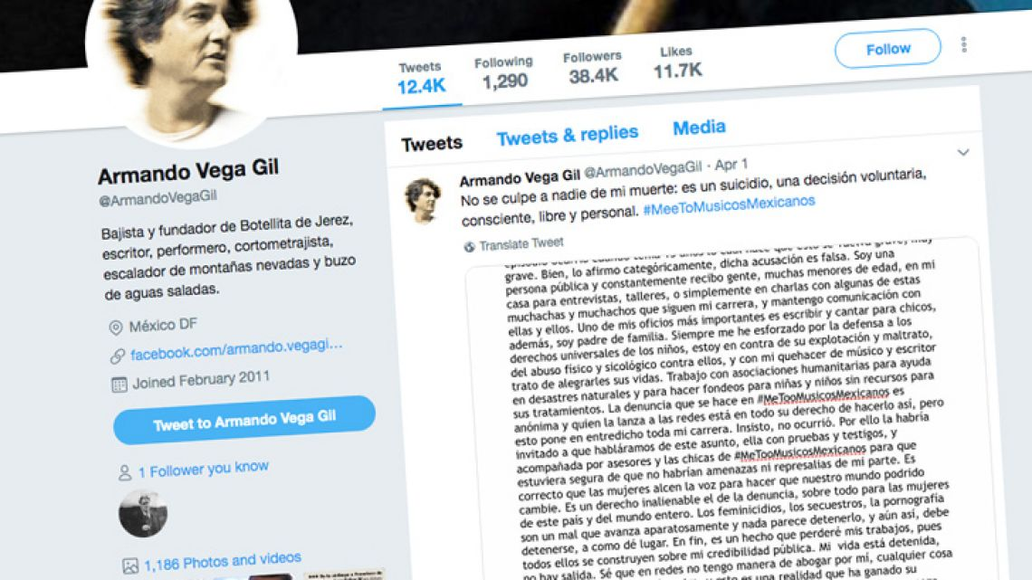 A screenshot of Armando Vega Gil's Twitter page, on which he posted an apparent suicide note.