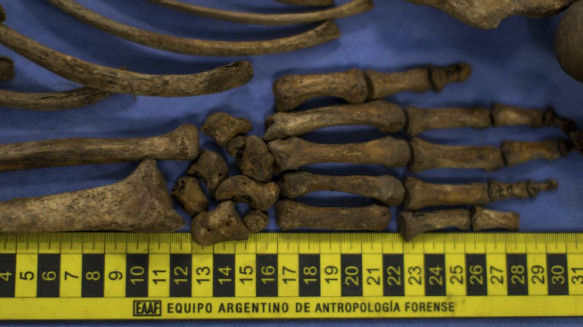 The skeletal remains of unidentified missing persons laid out on tables in the laboratory of the Argentine Anthropology Forensic Team, in Buenos Aires. The team works in the ex-ESMA Navy Mechanics School, the notorious clandestine detention and torture centre that held an estimated 5,000 prisoners.