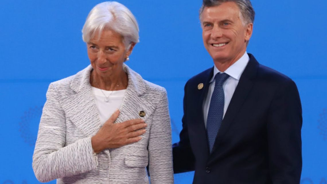 IMF chief Christine Lagarde (left) and President Mauricio Macri, pictured at the G20 Leaders Summit in December last year.