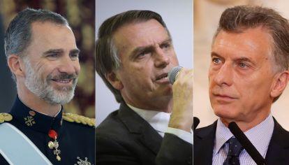 El Rey Felipe, Mauricio Macri y Jair Bolsonaro.