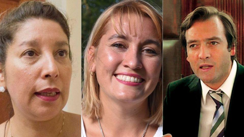 Arabela Carreras (candidata de Weretilneck), Lorena Matzen (Cambiemos) y Martín Soria (peronista). Los principales candidatos a la gobernación.