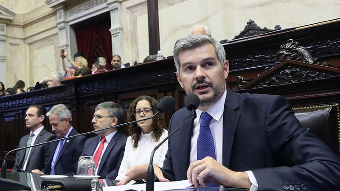 Cabinet Chief Marcos Peña appears in Congress.