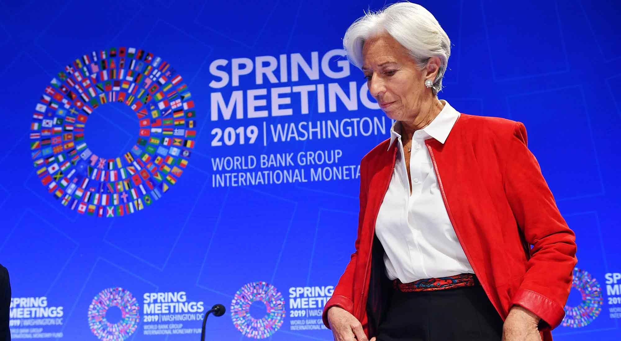 Christine Lagarde durante las reuniones de primavera del FMI y el Banco Mundial en la sede del Fondo Monetario Internacional en Washington.