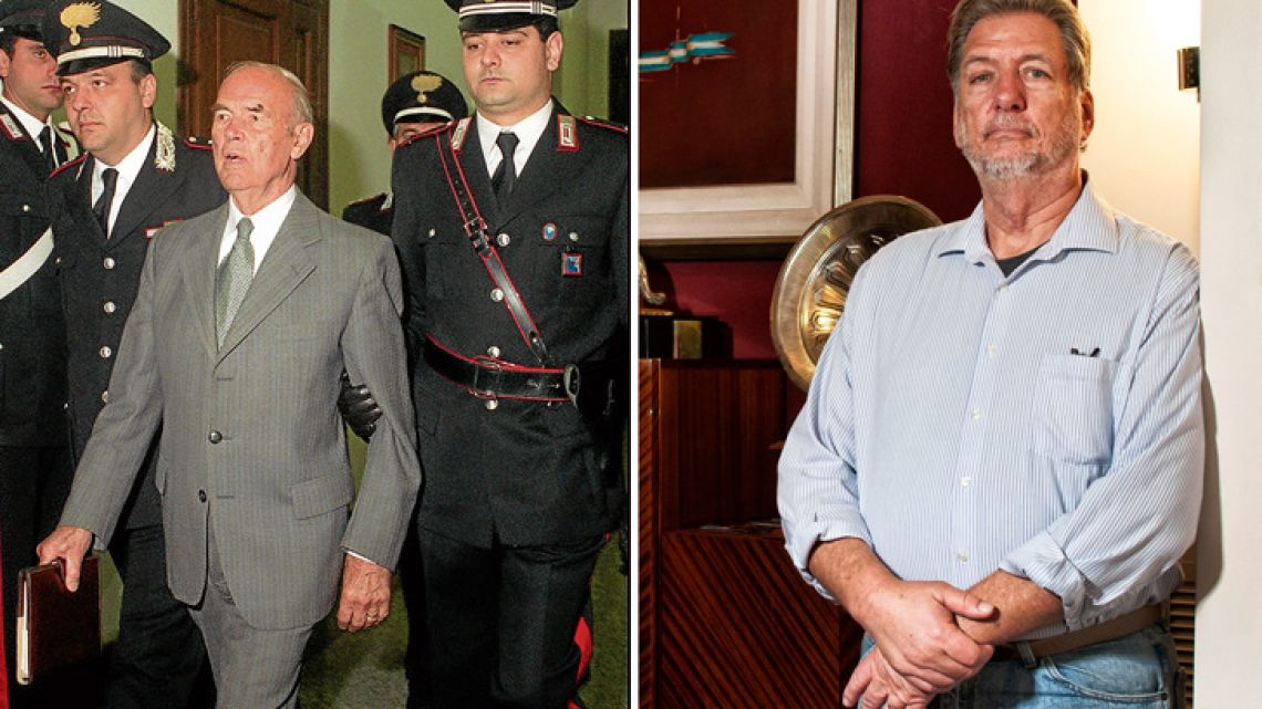 Left: Nazi war criminal Erich Priebke stood trial in an Italian court. Right: Rick Eaton, photographed in Buenos Aires this week during an interview with the Buenos Aires Times.