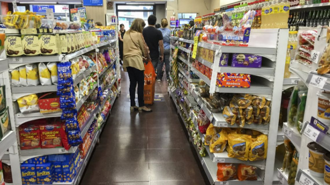 A Shopper browses the shelves in a supermarket in Buenos Aires this week.