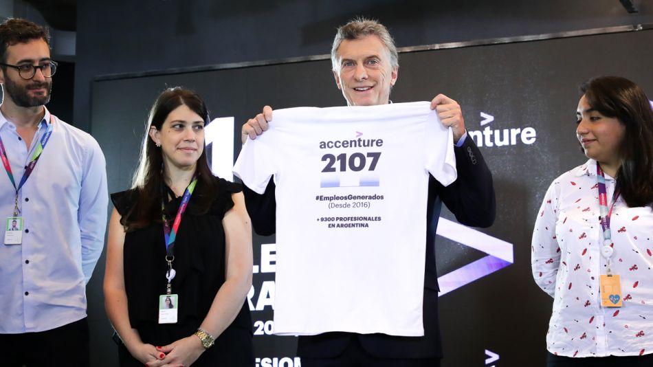 El presidente Mauricio Macri encabezó hoy el acto de inauguración del nuevo edificio de la filial argentina de Accenture
