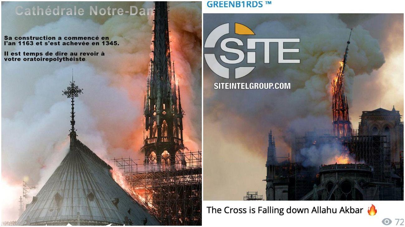"""""""Retribución y castigo"""", el festejo del ISIS por el incendio de la catedral de Notre-Dame"""