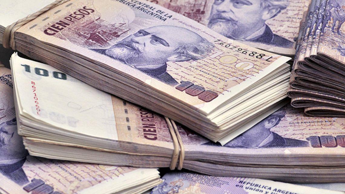 A pile of Argentine pesos.