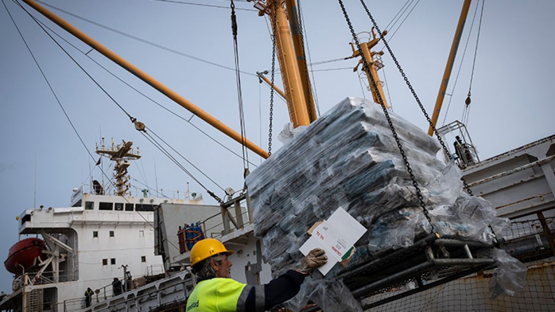 dock worker unloads squid from the Malvinas/Falkland Islands in the harbour of Vilagarcia de Arousa, on April 16, 2019.