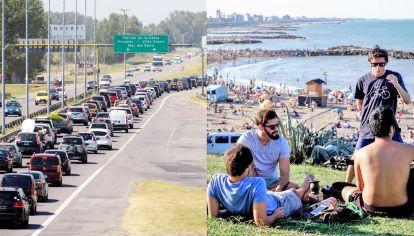 Escapada. Miles de autos salieron a la ruta el jueves al inicio del asueto (izq.). En Mar del Plata, el día pareció de verano (der.).