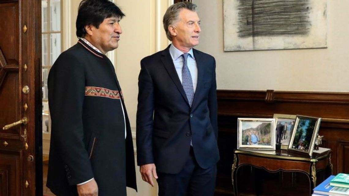 Bolivian President Evo Morales meets his Argentine counterpart Mauricio Macri at Government House in Buenos Aires on Monday April 22, 2019.