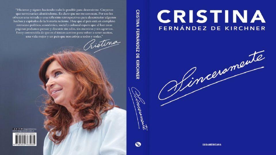 """La tapa del libro de Cristina Kirchner """"Sinceramente""""."""