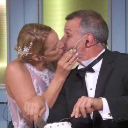Carina Zampini y Christian Petersen se besaron en GPCocina.