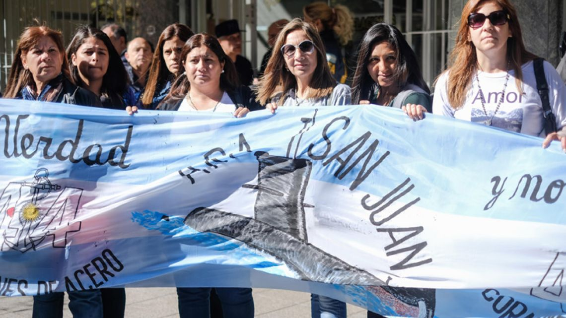 Relatives of the Navy officers who died the ARA San Juan tragedy, pictured in Mar del Plata earlier this week.