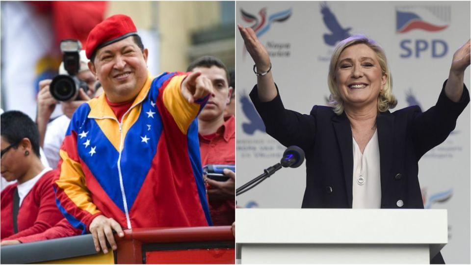 Populismo de izquierda y derecha. Hugo Chávez (Venezuela) y Marine Le Pen (Francia).