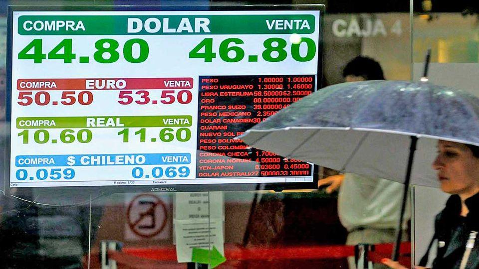 Abriendo el paraguas. El dólar subió casi 10% la semana pasada y cerró el viernes a $ 46,90. El riesgo país, sobretasa que paga la Argentina sobre bonos de EE.UU., quedó en 967 puntos básicos.