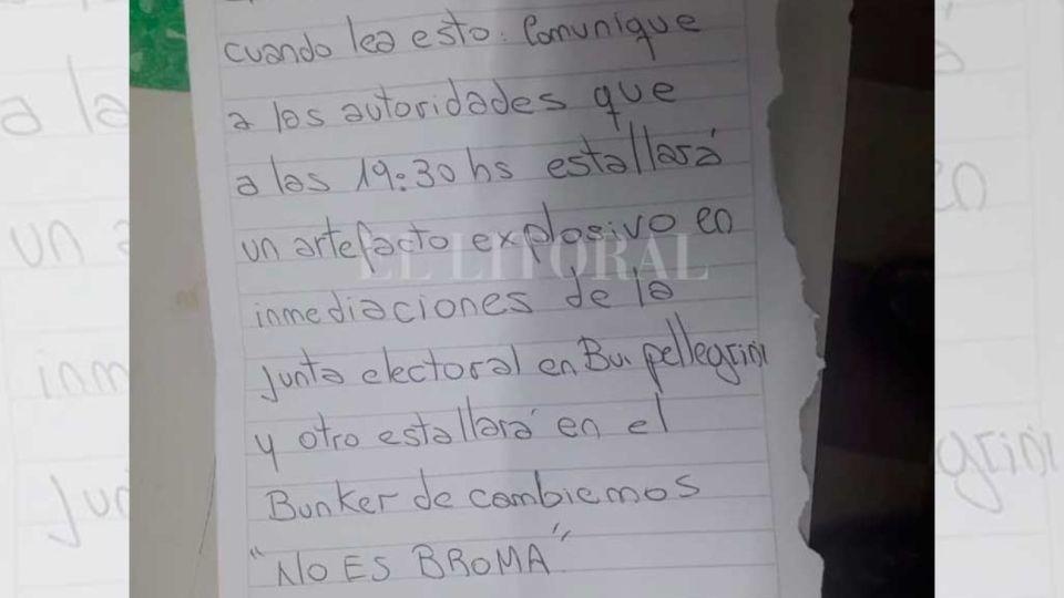 Amenaza de bomba hallada en una urna en Santa Fe.