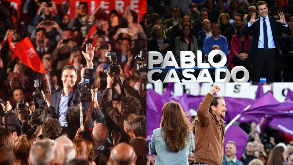 Pedro Sánchez, Pablo Casado y Pablo Iglesias, los vértices de la elección en España.