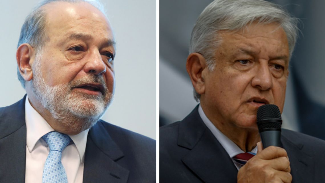 Carlos Slim (left) and Andrés Manuel López Obrador.