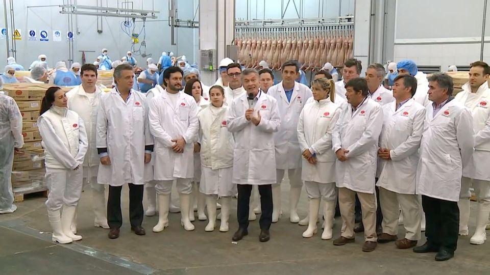 Macri, durante el anuncio en el frigorífico de Marcos Paz.