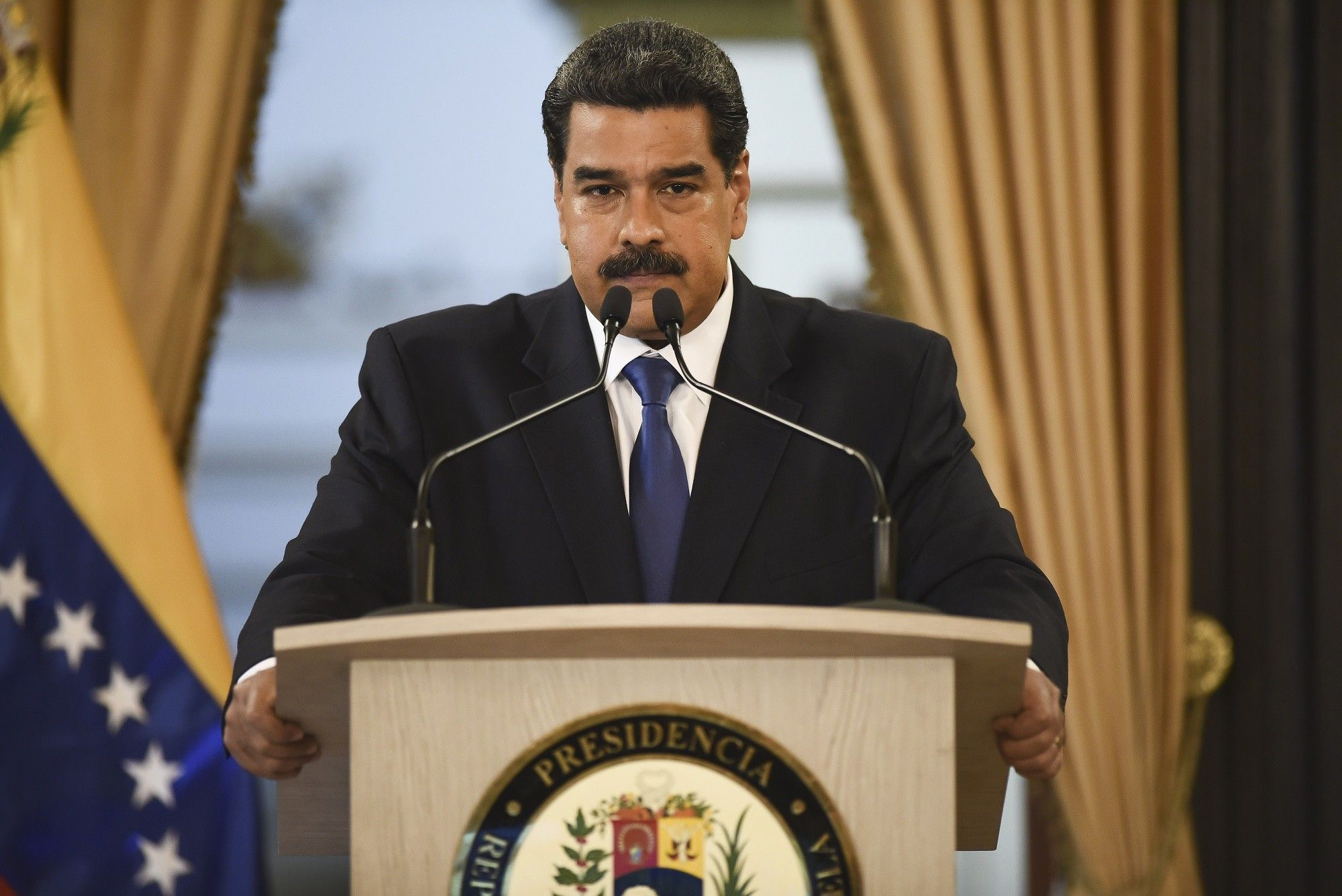 President Nicolas Maduro Holds Press Conference As Bridge Blockade Stifles Humanitarian Aid