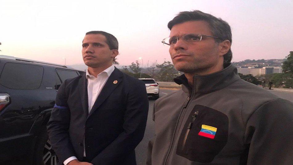 El presidente de la Asamblea Nacional venezolana, Juan Guaidó, y el opositor Leopoldo López.