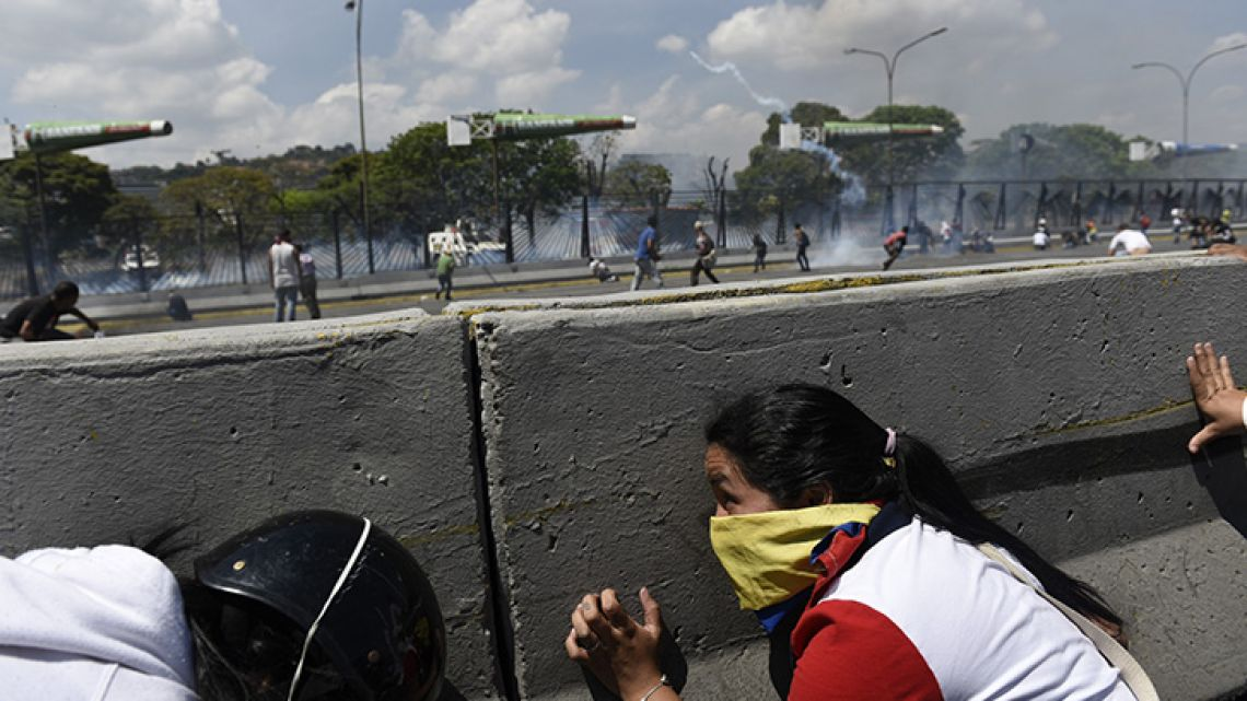 Clashes on the streets of Caracas.