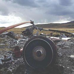 Restos de un helicóptero Chinook del Ejército Argentino en Monte Kent.