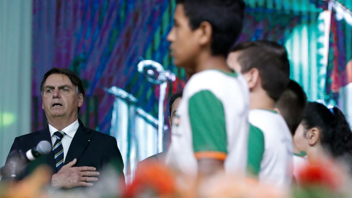 Handout picture released by Brazilian Presidency showing Brazilian President Jair Bolsonaro during an Evangelical Event in Camboriu, Santa Catarina state, Brazil on May 02, 2019.