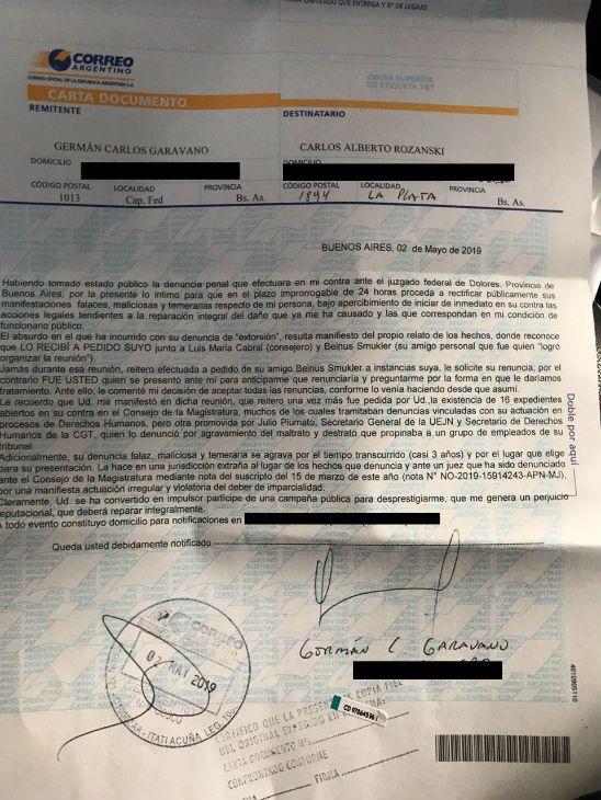 carta documento german garavano carlos rozanski 20190504
