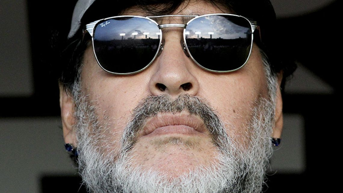The coach of Mexican second division football team Dorados, Diego Maradona, waits for the start of the second leg match of the Mexican second-division finals against Atlético San Luis, at the Alfonso Lastras Ramírez stadium in San Luis Potosi, Mexico, on May 5, 2019.