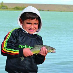 Truchas sembrados por los niños en la Jornada de Pesca Familiar en el río Santa Cruz.