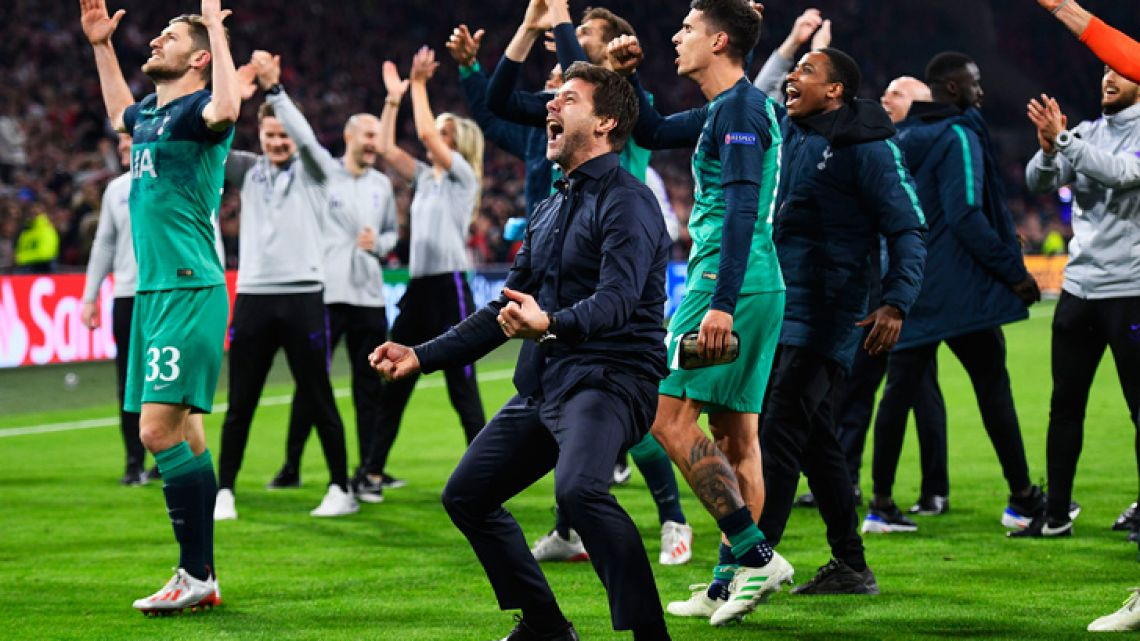 Mauricio Pochettino celebrates at full time after Spurs came back against Ajax to seal a place in the Champions League final.