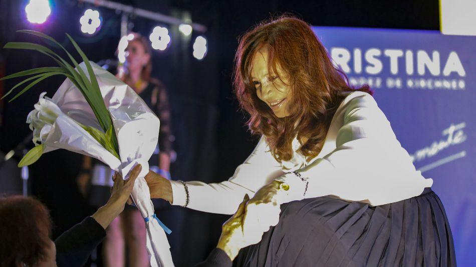 Cristina Kirchner, durante el cierre de su acto en la Rural.