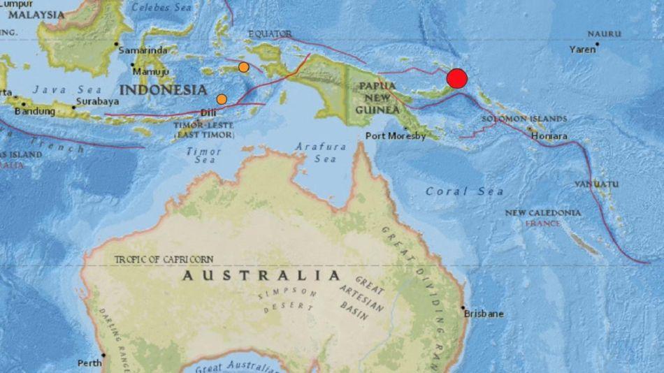 Terremoto de magnitud 7,7 se registró este martes en Papúa Nueva Guinea.