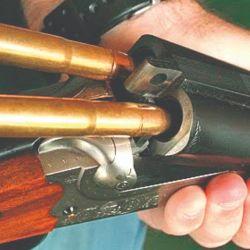 Detalle de un Big Five calibre .470 NE con cañones yuxtapuestos, también denominados side by side.