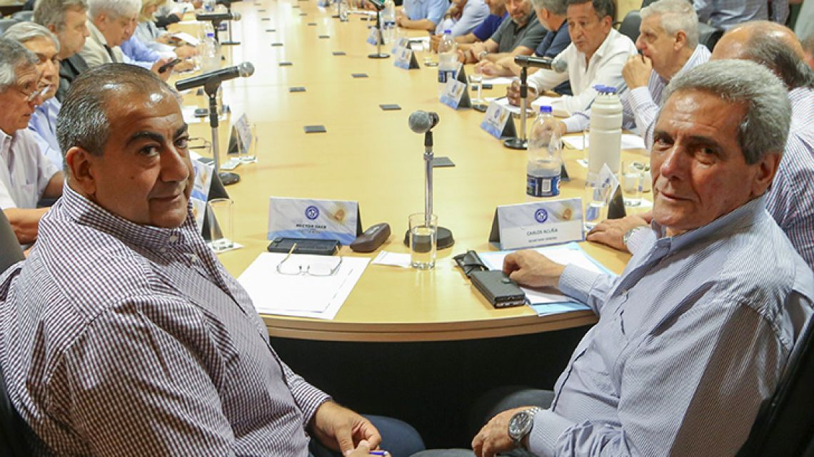 The leadership of the CGT umbrella union grouping, pictured at a recent meeting.