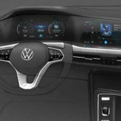 Boceto digital del interior del VW Golf VIII.